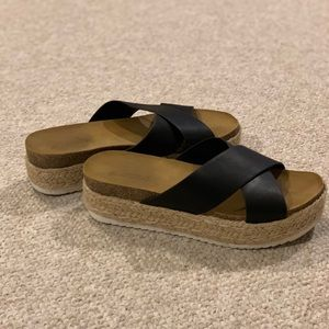 Women's soda flatforms slip on Sandals.
